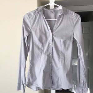 Grey and white polka dot H&M collared button-up